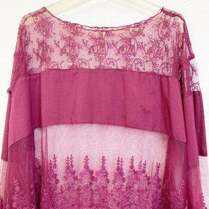 Free People Tops - Free People Lace Bell Sleeve Top Size M